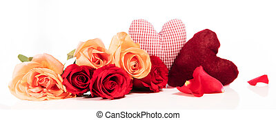 Panorama with roses and hearts in front of white background