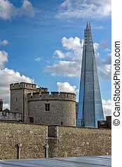 Panorama with Tower of London and The Shard, London, England