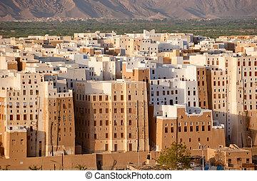 panorama, yémen, province, hadhramaut, shibam