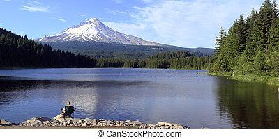 panorama, y, lago, monte., trillium, capucha