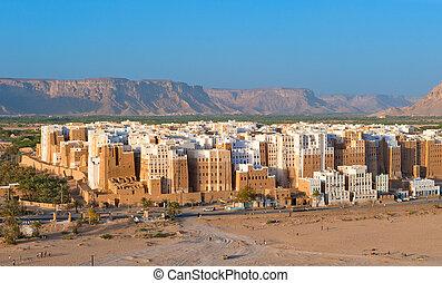 panorama, yemen, provincia, hadhramaut, shibam