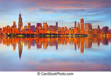 panorama, zachód słońca, chicago