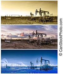 panoramas, 3, olaj, pumpjack.