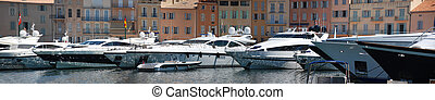PanoramaSaint Tropez - Panoramic view of the port in the...