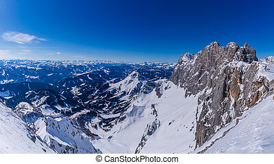 Panoramatic view from peak of Ramsau am Dachstein mountain in Alps