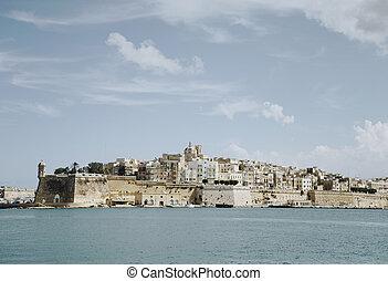 panoramatický ohledat, o, valletta, malta