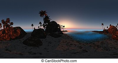 panoramia of tropical beach at sunset. made with one 360 degree lense. ready for virtual reality. 3D illustration