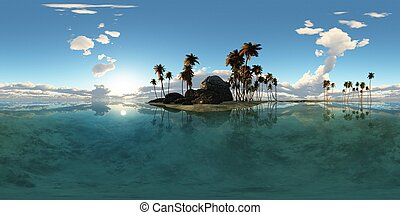 panoramia of tropical island with palms in ocean. made with...