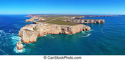 Panoramic aerial from the lighthouse 'Cabo Vicente' in ...