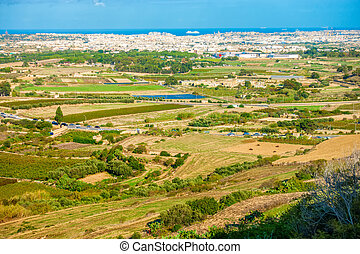 panoramic aerial skyline view of Malta from Mdina