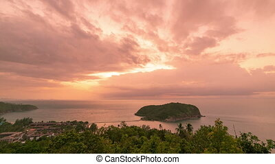 Panoramic aerial tview of Koh Mae at sunset on Phangan island, Thailand in a summer day. Timelapse 4K