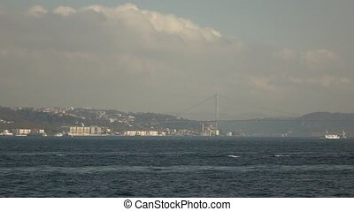 Panoramic aerial video of seascape of Bosphorus with shiping...