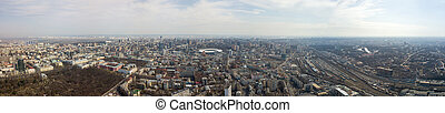 Panoramic aerial view from drone. on the city of Kiev with a...