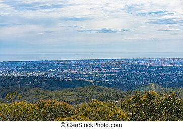 Panoramic aerial view of Adelaide city