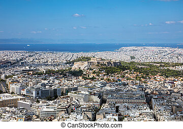 Panoramic aerial view of Athens in Greece and Acropolis, from Lycabettus hill