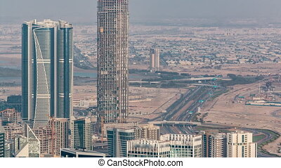 Panoramic aerial view of business bay towers in Dubai at ...