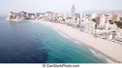 Aerial view of coast at Benidorm cityscape with a modern apartment buildings, Spain