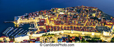 Panoramic aerial view of Dubrovnik old town