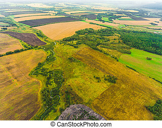 Panoramic aerial view of fields, road and river. Bird's-eye view of the land with fields, meadows and forest