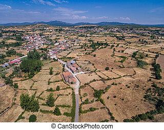 Panoramic aerial view of Figueruela village in Zamora