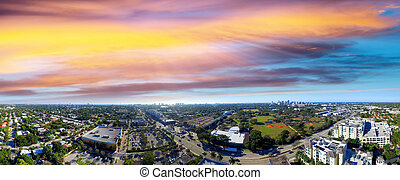 Panoramic aerial view of Fort Lauderdale at sunset