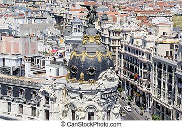 Panoramic aerial view of Gran Via, main shopping street in Madri