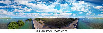 Panoramic aerial view of Key West coastline, Florida - USA