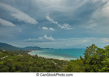 Panoramic aerial view of Koh Samui island, Thailand in cloudy day