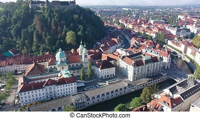Panoramic aerial view of Ljubljana cityscape and river ...