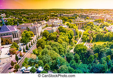 Panoramic aerial view of Luxembourg in a beautiful summer day