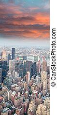 Panoramic aerial view of Manhattan at dusk
