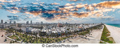 Panoramic aerial view of Miami Beach coastline and skyline, Florida