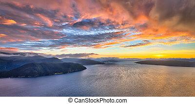 Panoramic Aerial view of Norwegian fjords