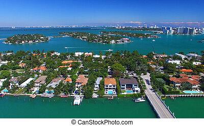 Panoramic aerial view of Palm Island, Miami - Florida