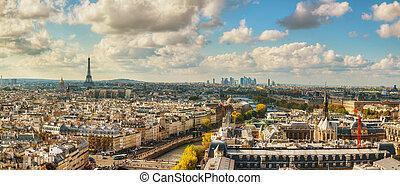 Panoramic aerial view of Paris