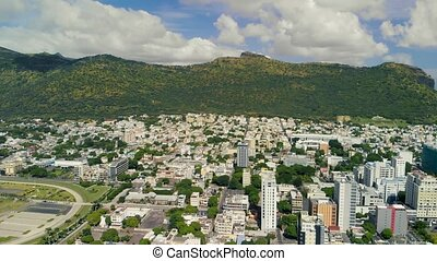 Panoramic aerial view of Port Louis from city fortress in Mauritius