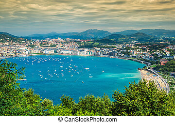 Panoramic aerial view of San Sebastian (Donostia) Spain