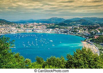 Panoramic aerial view of San Sebastian (Donostia) Spain