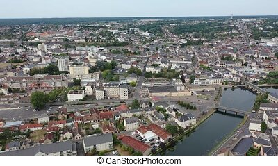 Panoramic aerial view of the city of Vierzon in the cher ...