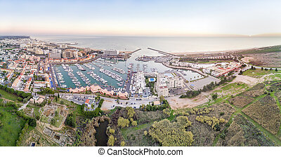 Panoramic, aerial view of Vilamoura with roman ruins, ...