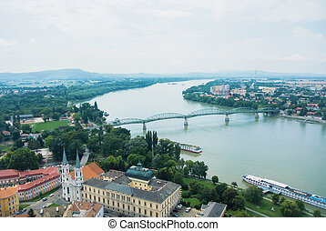 Panoramic aerial view over the roofs of Esztergom town near Budapest.