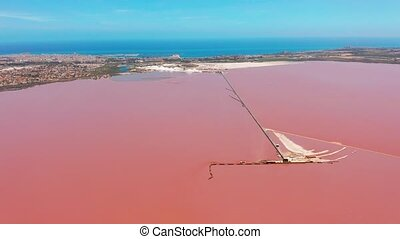 Panoramic aerial view video of Las Salinas, bright color...