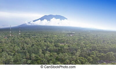 Panoramic aero view from drone on jungle and mountains,...