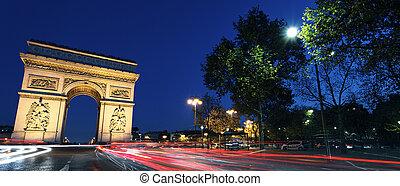 Panoramic Arc de Triomphe by night - Panoramic view of Arc...