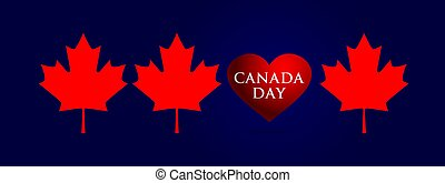 Panoramic banner for Canada Day red maple leaves and heart on a blue background