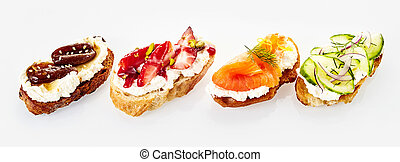 Panoramic banner with four assorted canapes