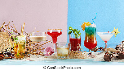Panoramic banner with tropical cocktails