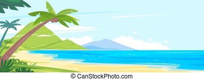 Panoramic beach of the tropical island