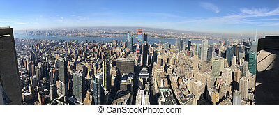Panoramic Bird eye view of New York City, Manhattan, USA