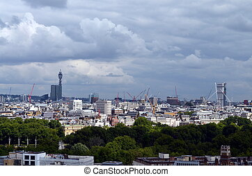 panoramic bird view over the city of london